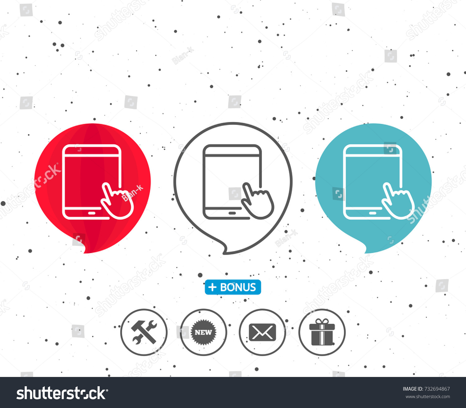 Speech Bubbles Symbol Tablet Pc Icon Stock Vector 732694867