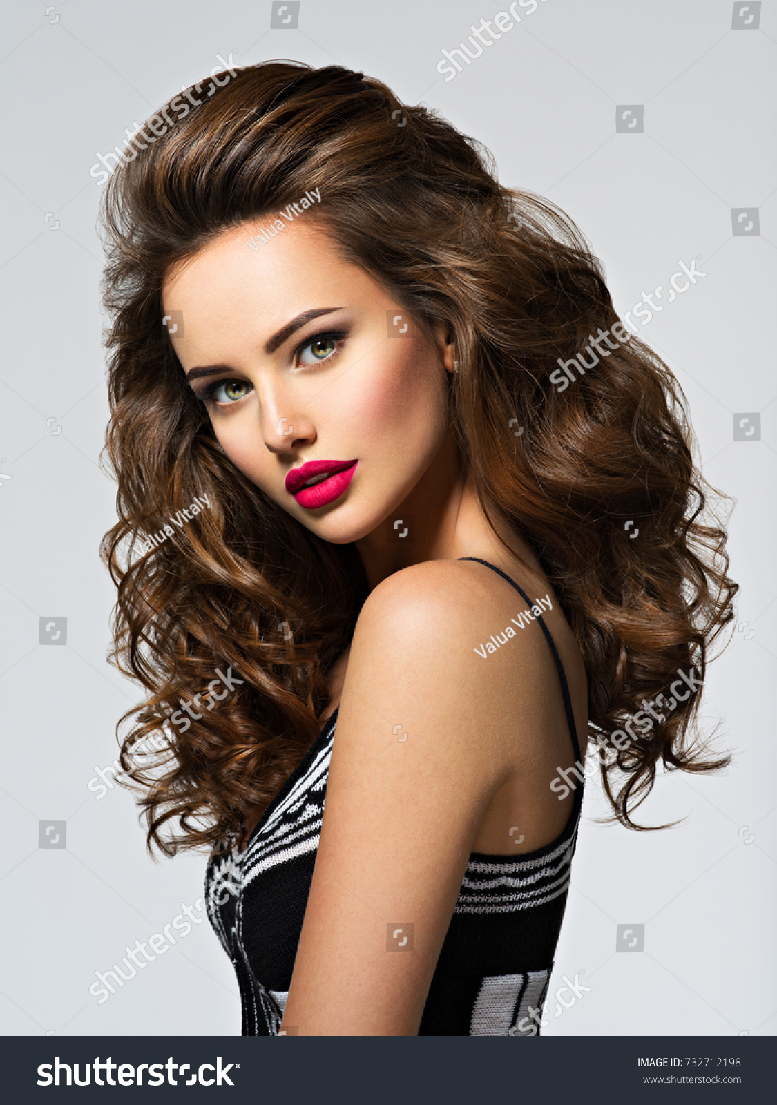 Beautiful Woman Long Brown Curly Hair Stock Photo Edit Now