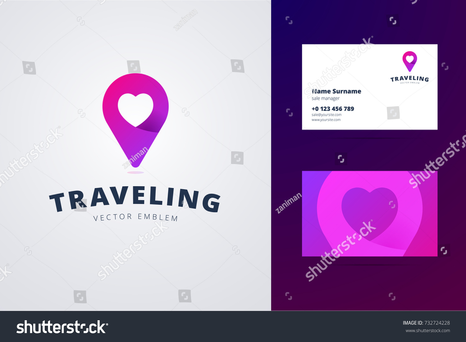 Traveling Logo Business Card Template Map Stock Vector (2018 ...