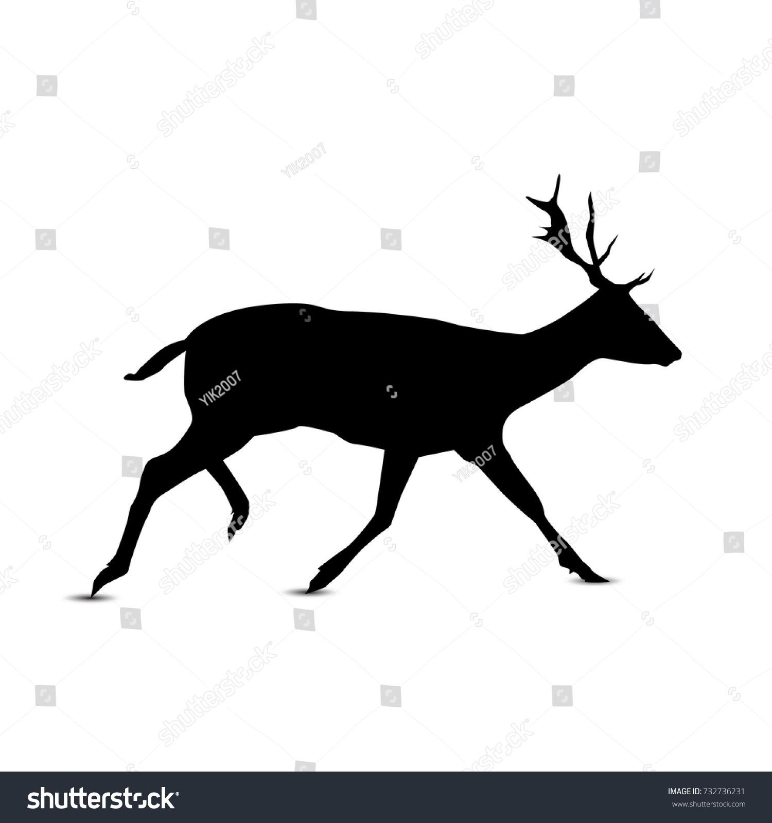 silhouette of running deer