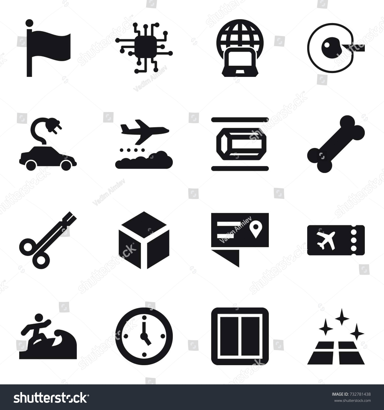 16 Vector Icon Set Flag Chip Stock Vector 732781438 - Shutterstock