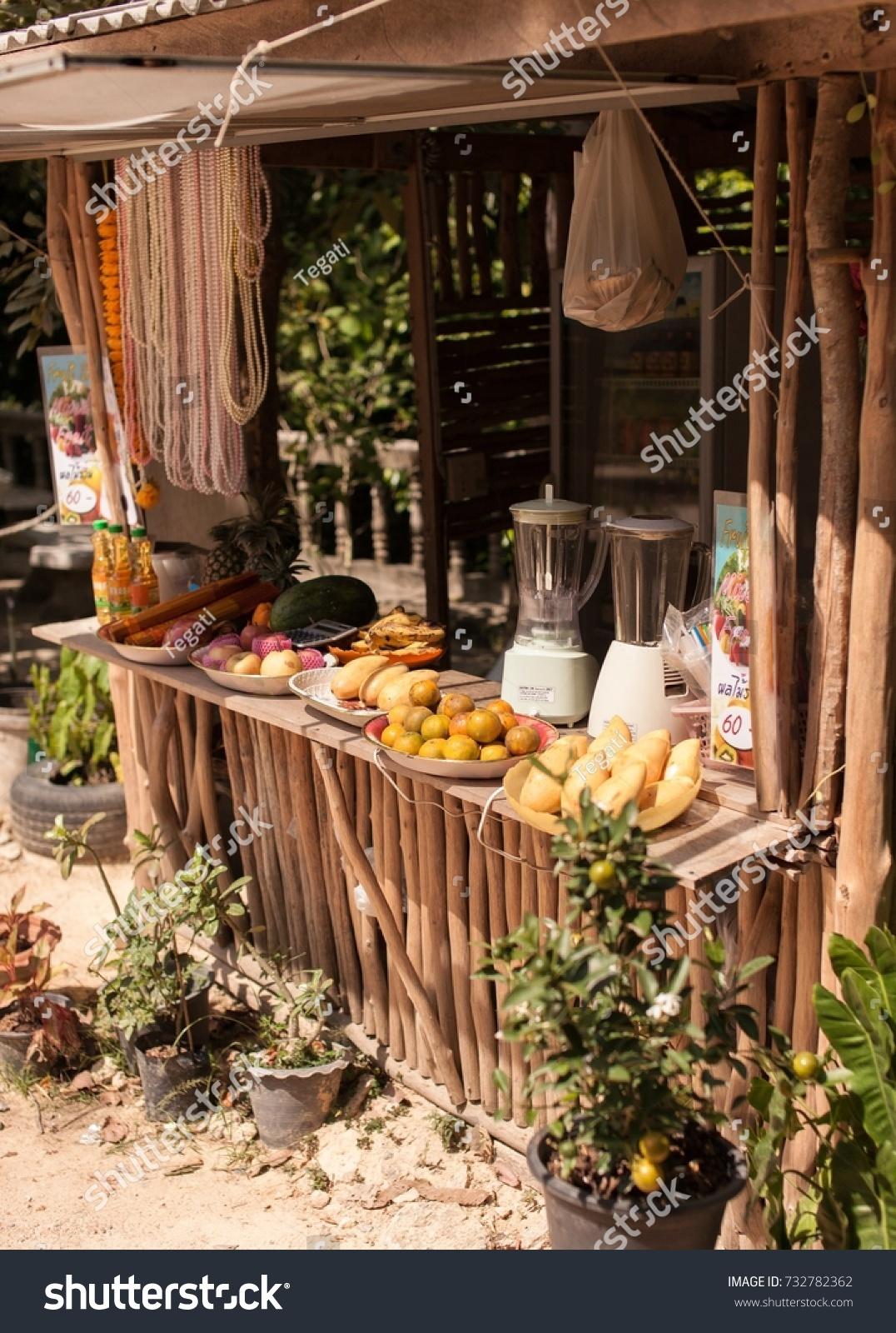 Exotic Tropical Retail Kiosk Fruits Juices Stock Photo (Edit Now