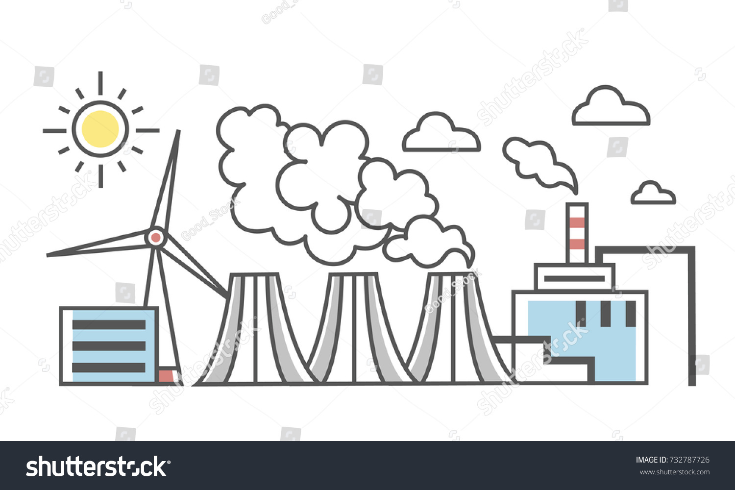Industrial Landscape Different Types Power Plants Stock Vector (2018 ...
