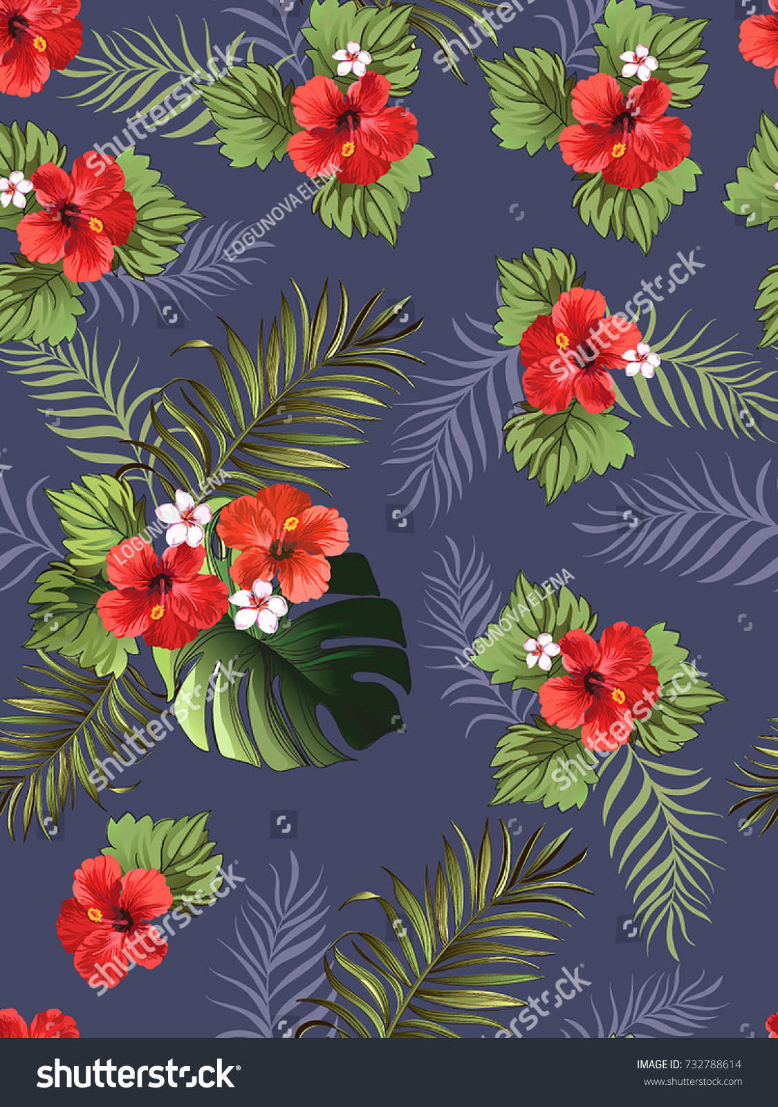 Exotic tropical background hawaiian plants flowers stock vector exotic tropical background with hawaiian plants and flowers seamless vector pattern izmirmasajfo Images
