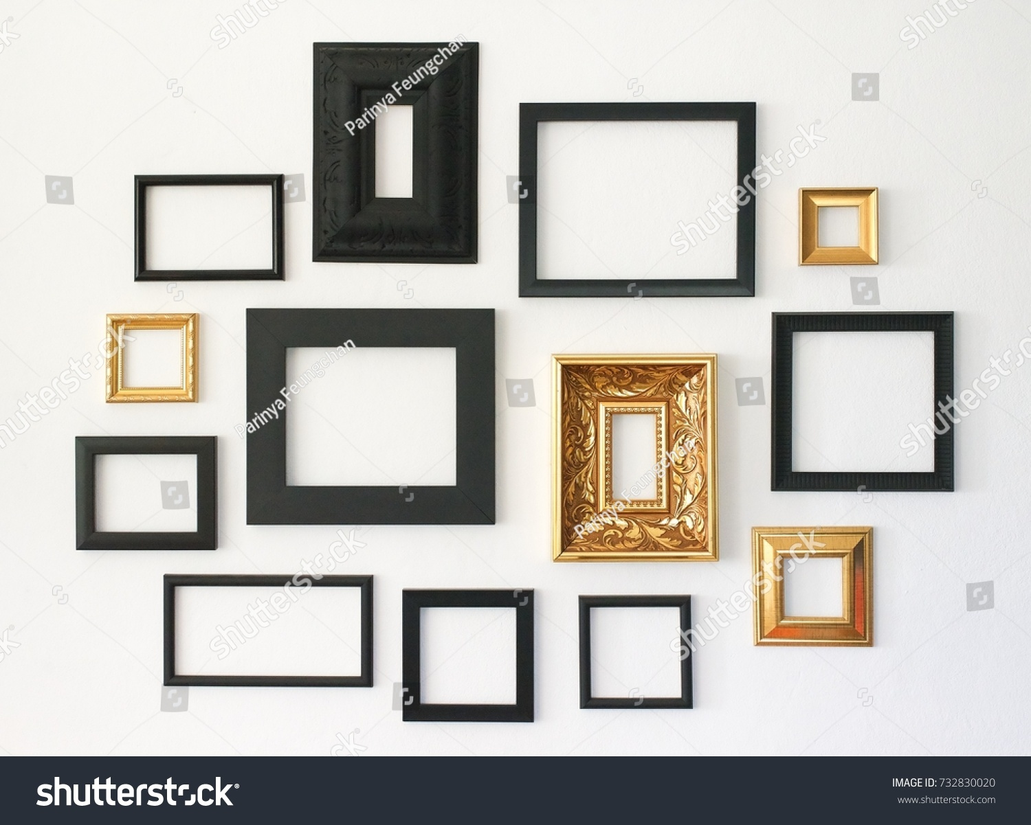 Multiple Many Blank Small Picture Frames Stock Photo (Royalty Free ...