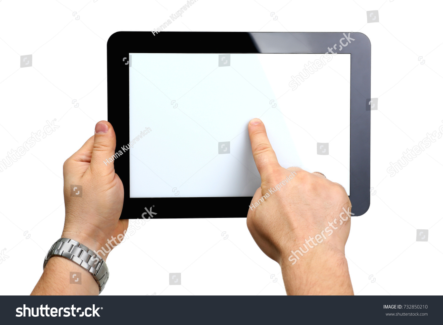 Man hoding black tablet frame in hand isolated on white closeup. Can insert an image image your text for the concept or project development of mobile applications, their advertising for mobile devices #732850210