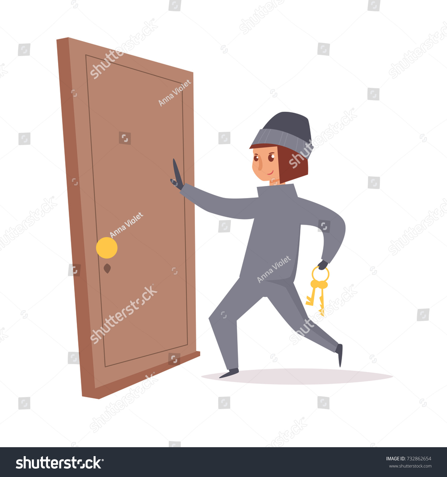 ad73df9085a Thief opens the door. Robber. Vector. Cartoon. Isolated art on white  background