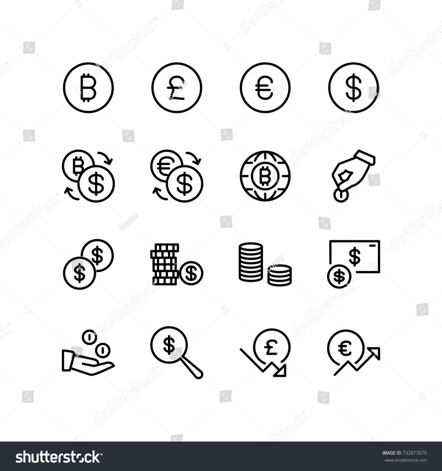 Various Currency Sign Symbols Money Concept Stock Vector Royalty