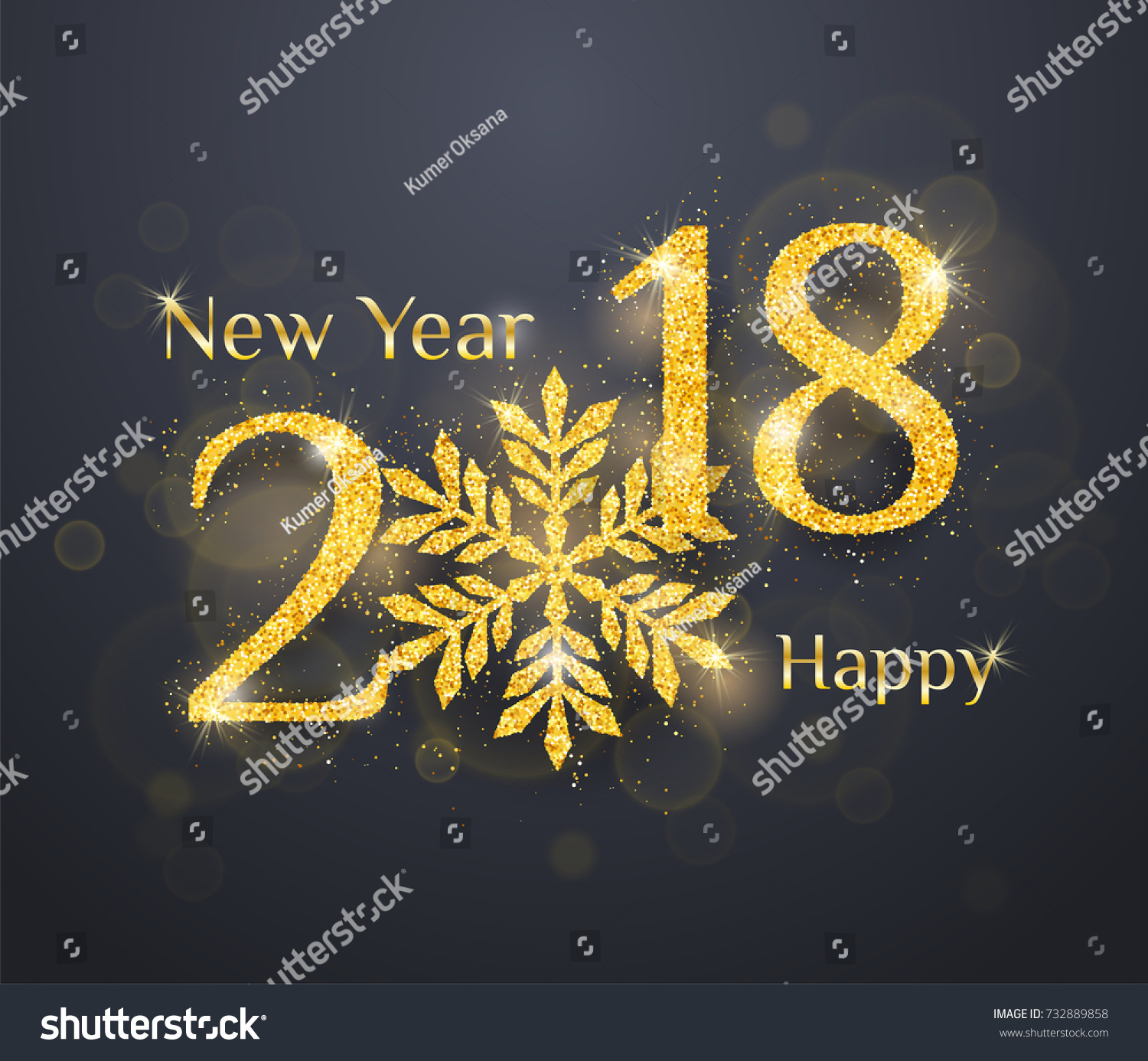 2018 happy new year greeting card background with golden glitter numbers on dark background vector