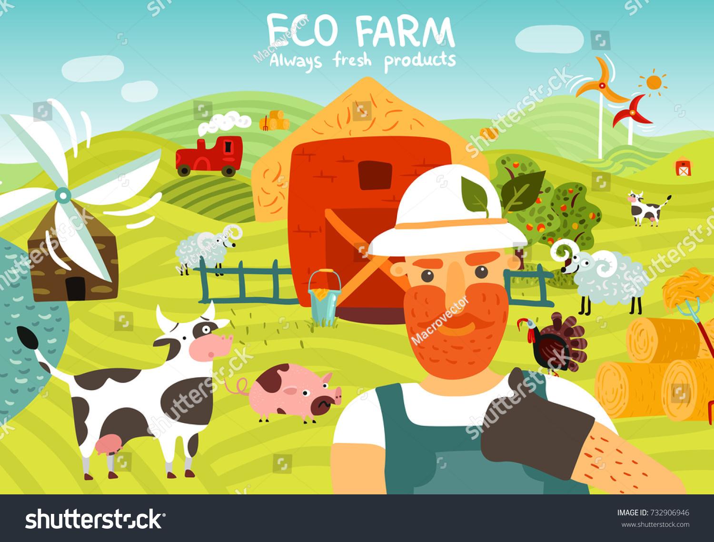 Eco Farm Composition Worker Barn Windmills Stock Vector 732906946