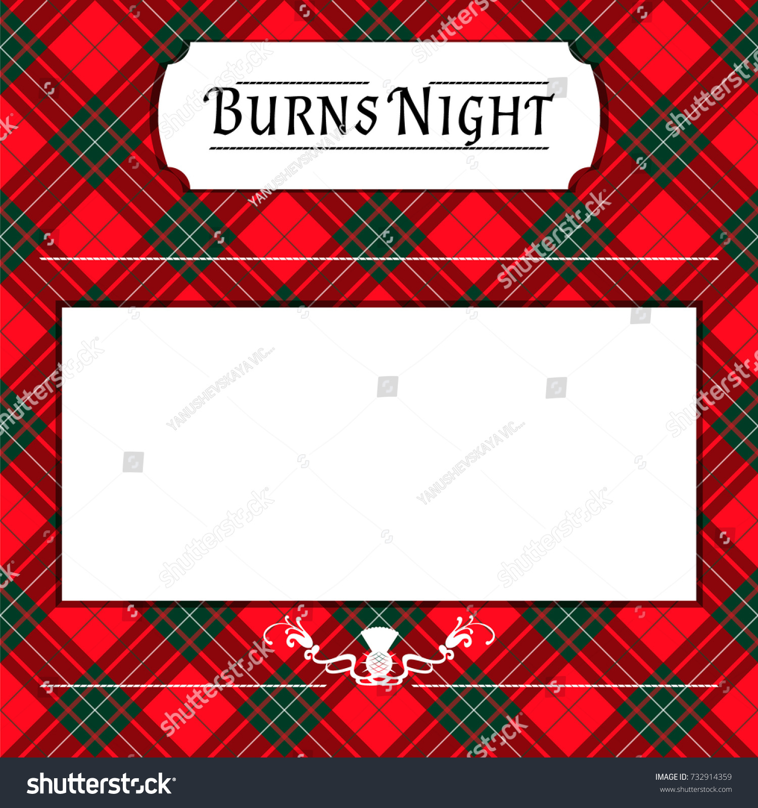 Burns Night Card On Tartan Background Stock Vector (Royalty Free ...