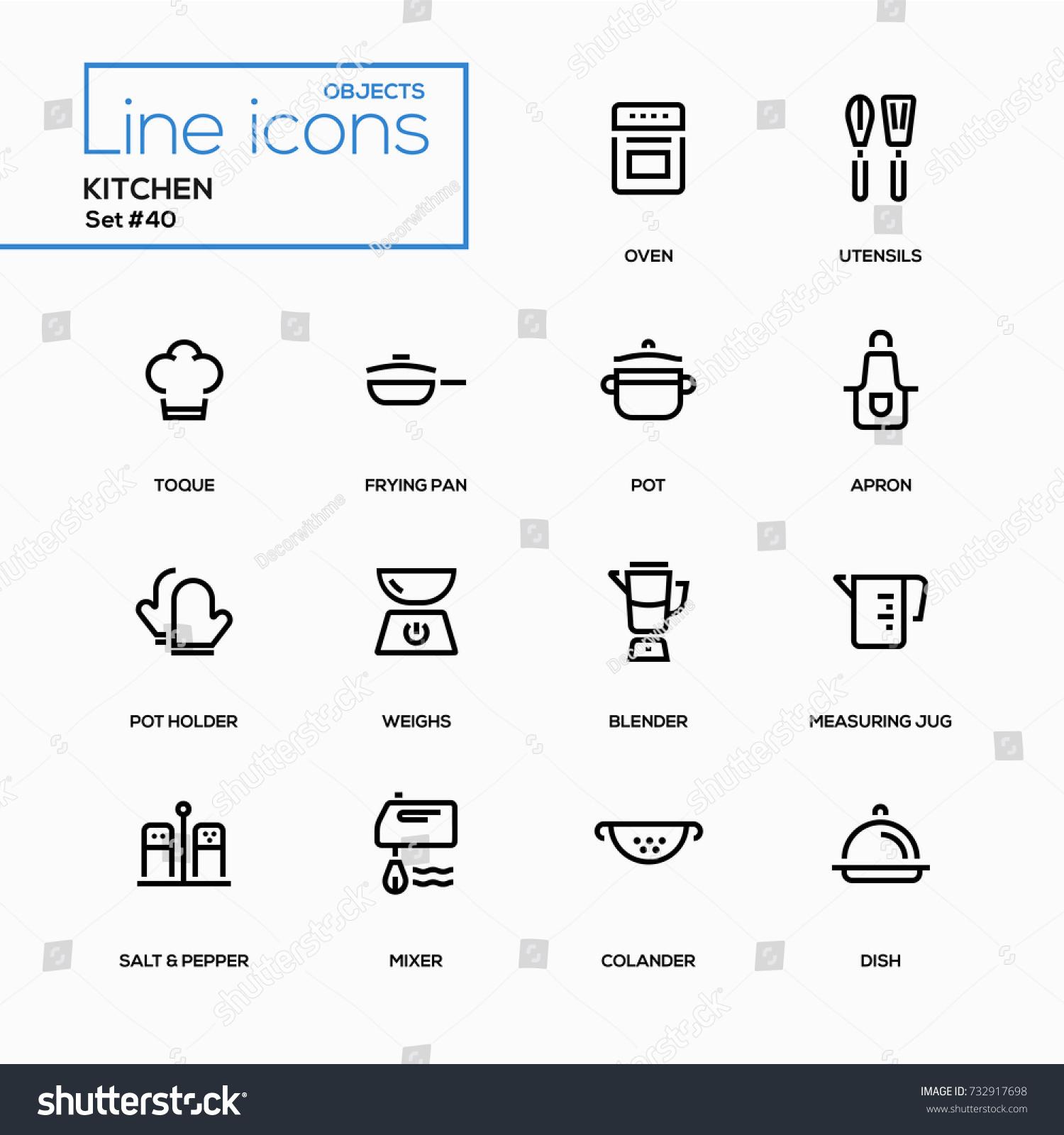 kitchen utensils line design icons set stock vector royalty free
