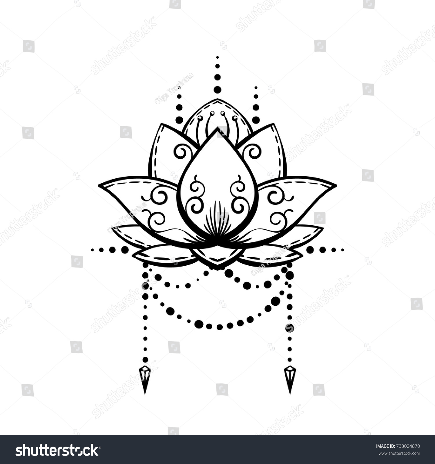 Lotus flower tattoo hand drawn isolated stock vector royalty free lotus flower tattoo hand drawn isolated vector magic symbol design element izmirmasajfo