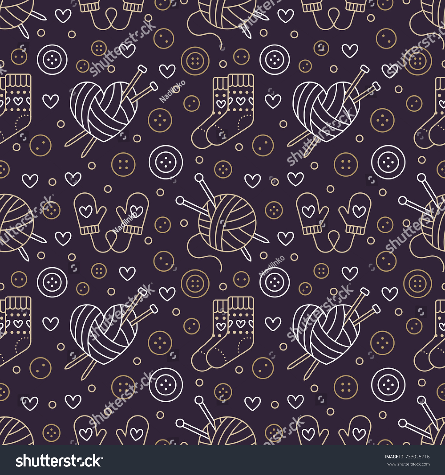 Knitting Crochet Seamless Pattern Cute Vector Stock Vector Royalty Free 733025716