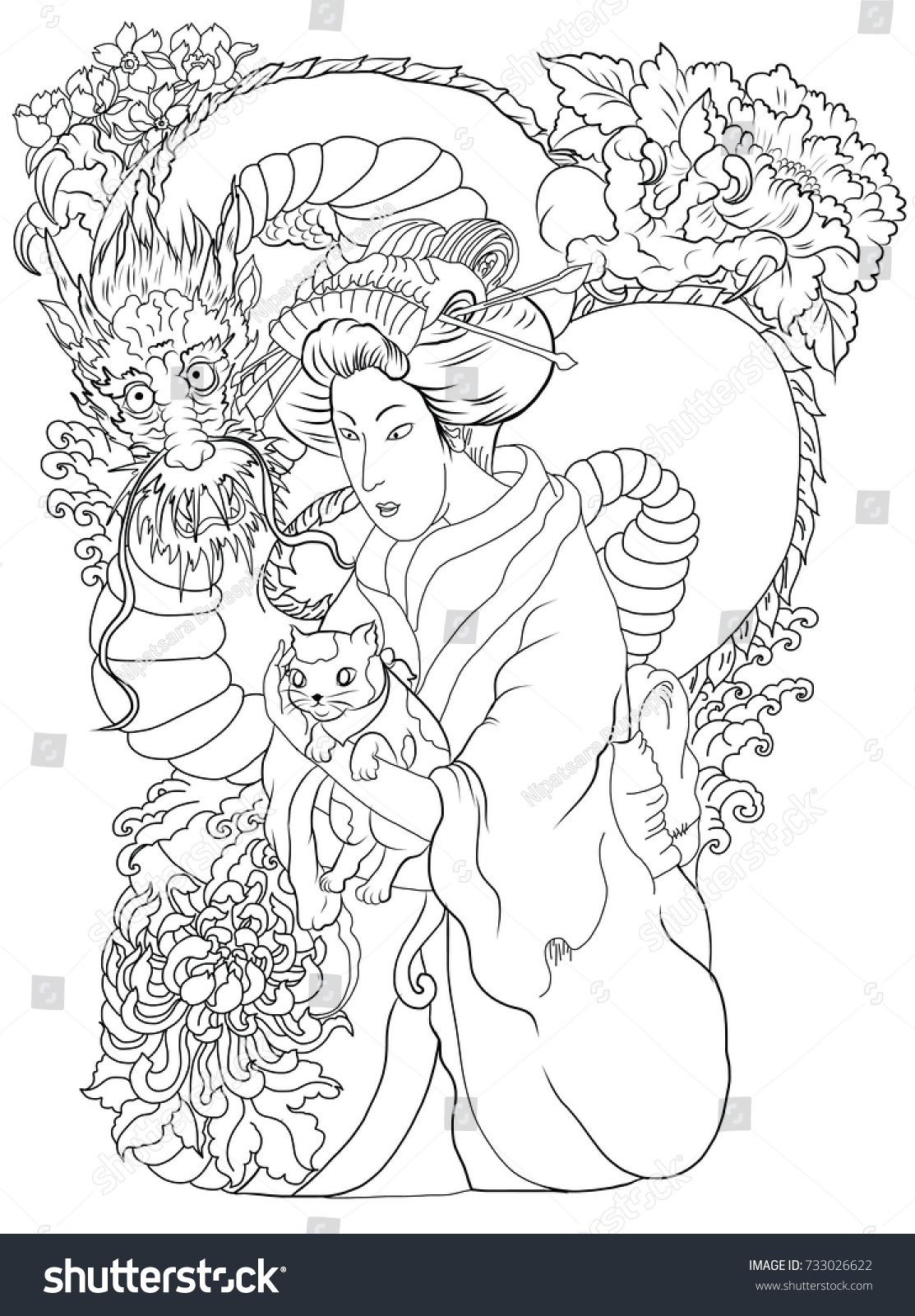 Japanese Tattoo Line Drawing : Japanese women kimono her cattraditional stock