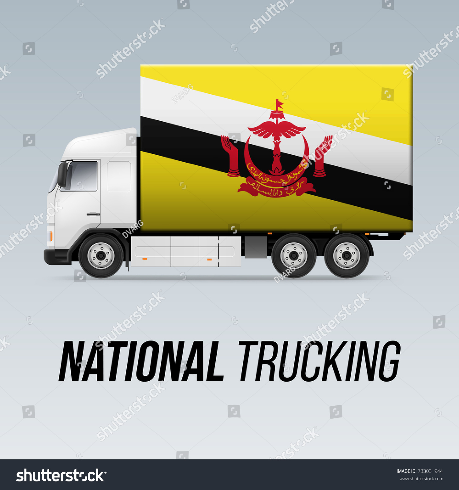 Symbol National Delivery Truck Flag Brunei Stock Vector Royalty