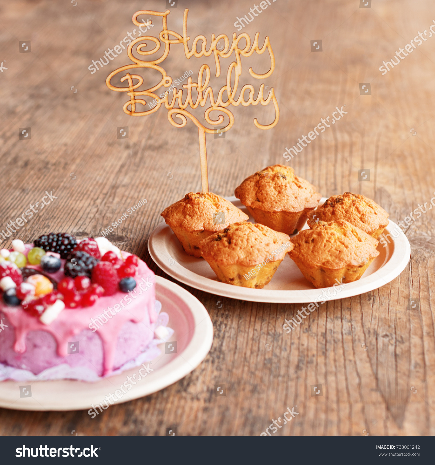 Miraculous Birthday Cake Muffins Wooden Greeting Sign Stock Photo Edit Now Funny Birthday Cards Online Eattedamsfinfo
