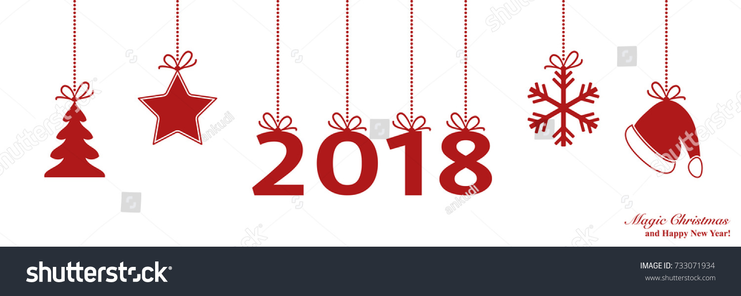 happy new year 2017 border with ball decoration christmas border vector background