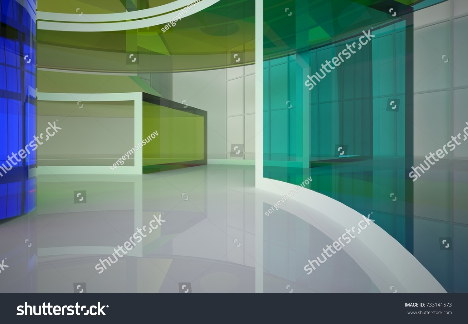 Abstract blue glass roof modern interior design buildings. | EZ Canvas