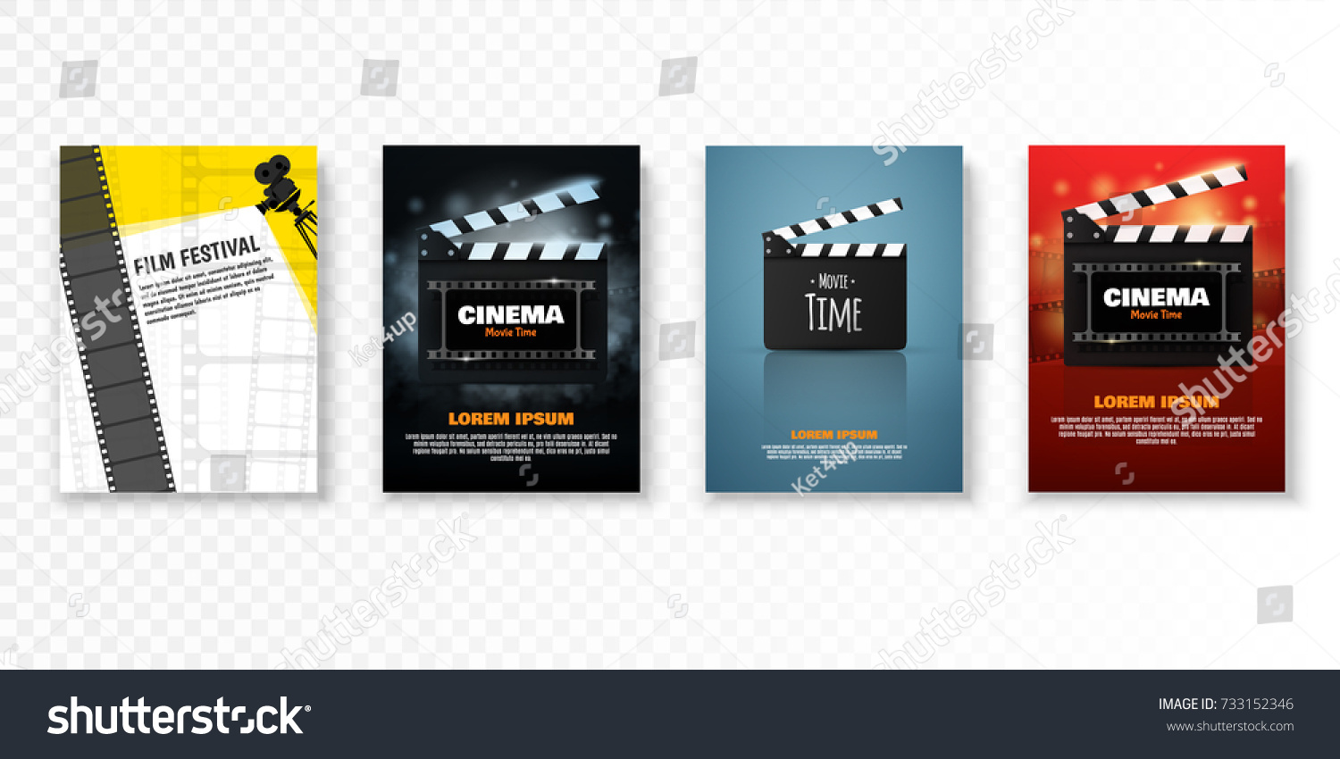 Set Vector Cinema Posters Flyers Film Stock Vector Royalty Free