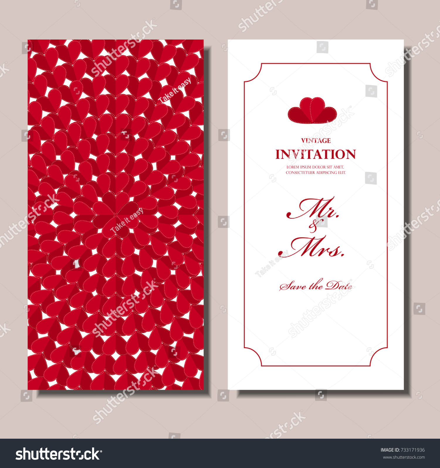 Wedding Invitation Card Red Origami Heart Stock Vector (Royalty Free ...