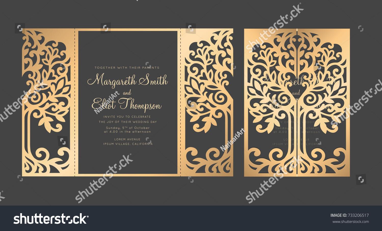 tree wedding invitation template gate fold stock vector royalty