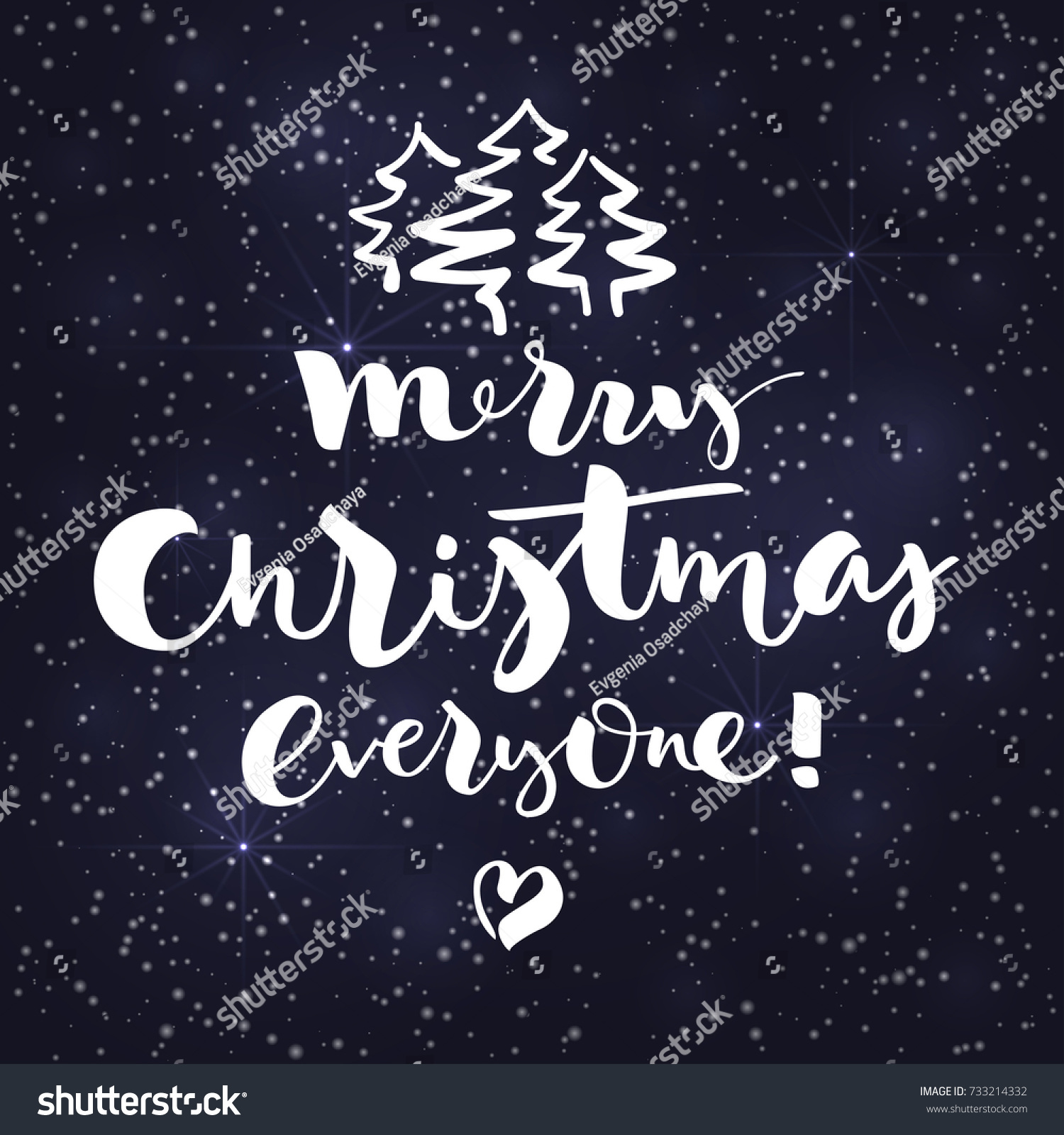 Lettering Merry Christmas Everyone On Dark Stock Vector (Royalty ...