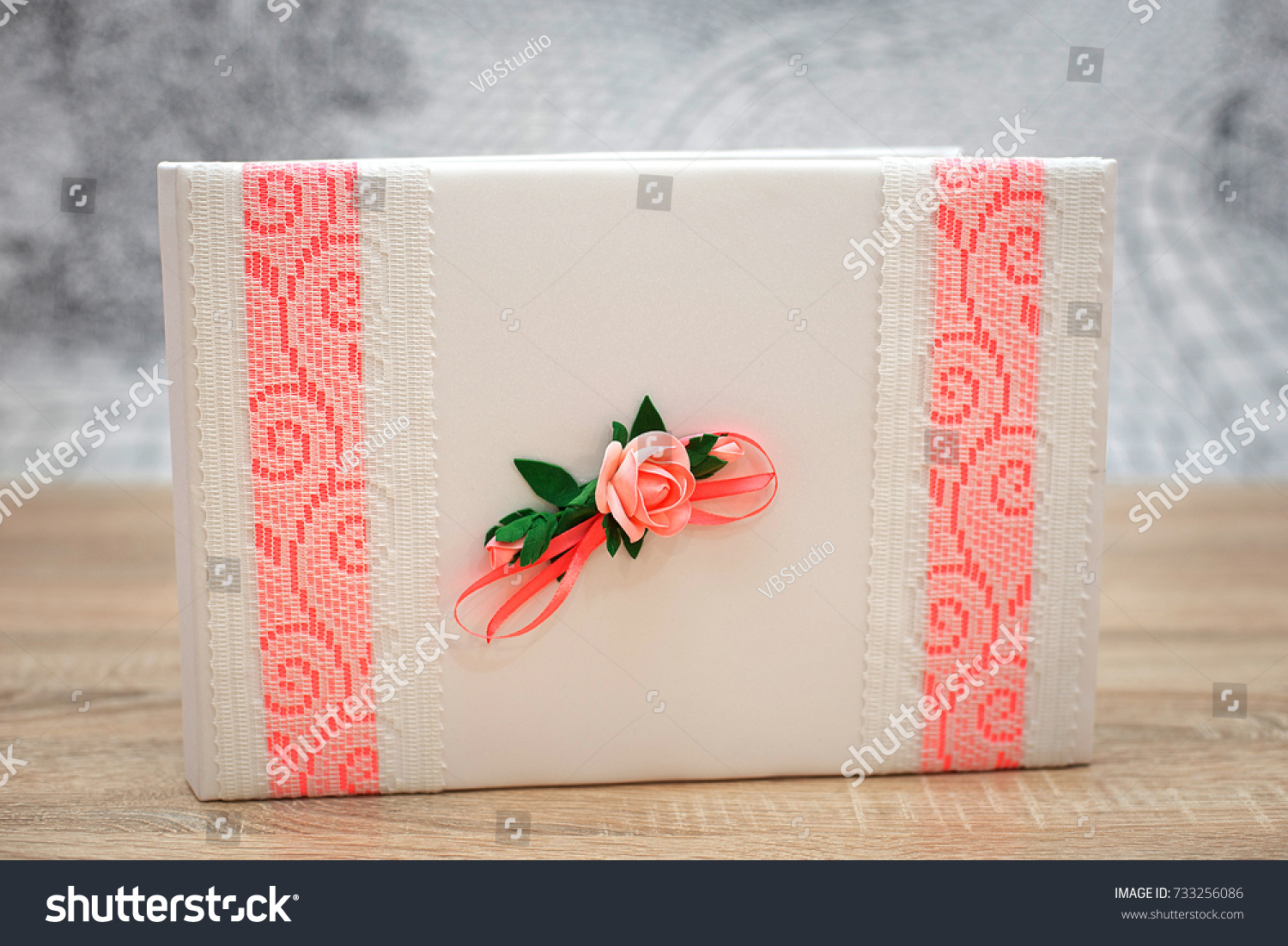 wedding wish book decorated flowers pink stock photo 733256086