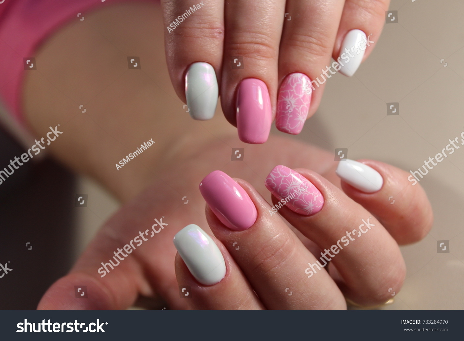 Cute Design Manicure Pink White Color Stock Photo (Royalty Free ...