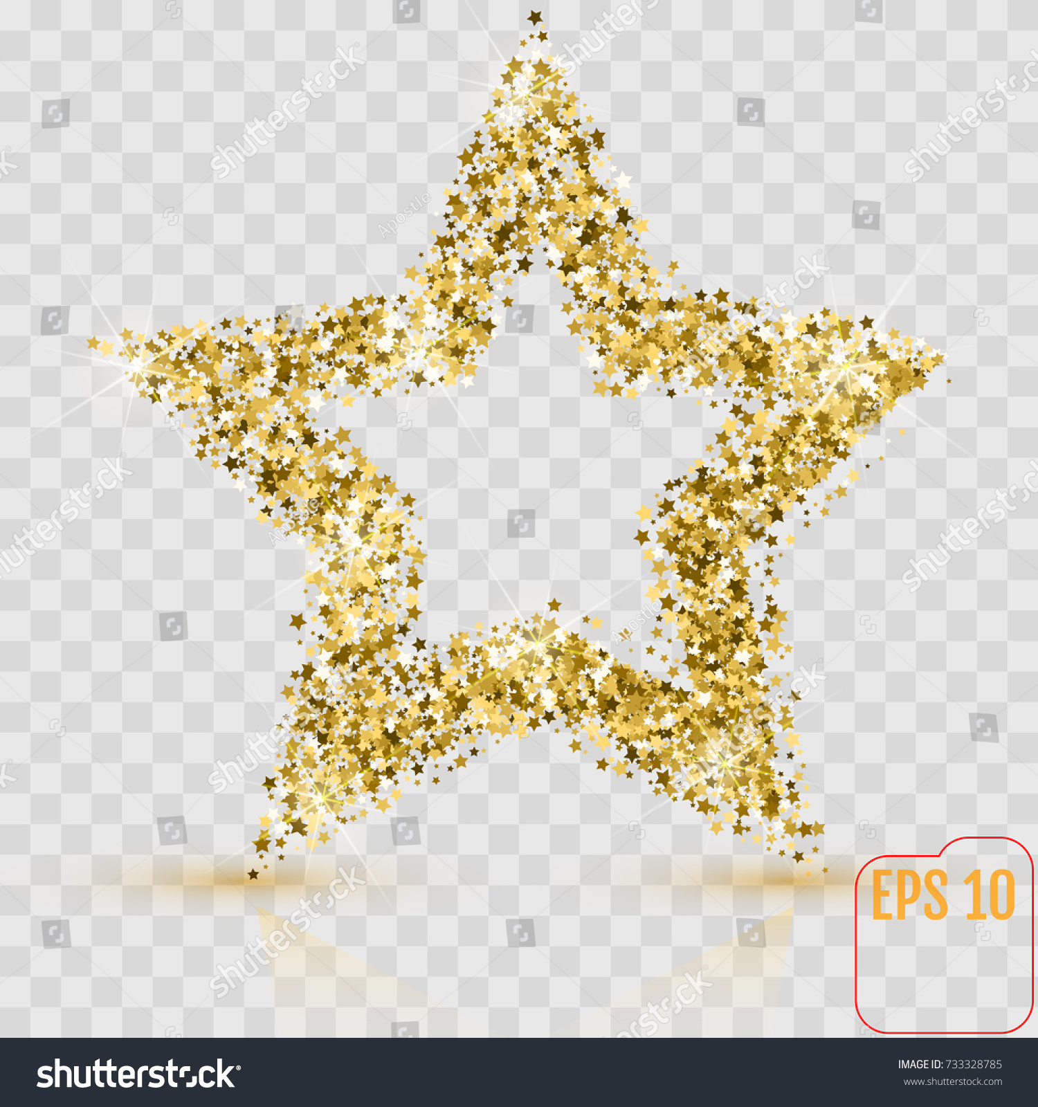 Gold star certificate from the endorsement letter for employment golden glitter star many small stars stock vector 733328785 stock vector golden glitter star of many small stars vector banner on transparent background yadclub Choice Image