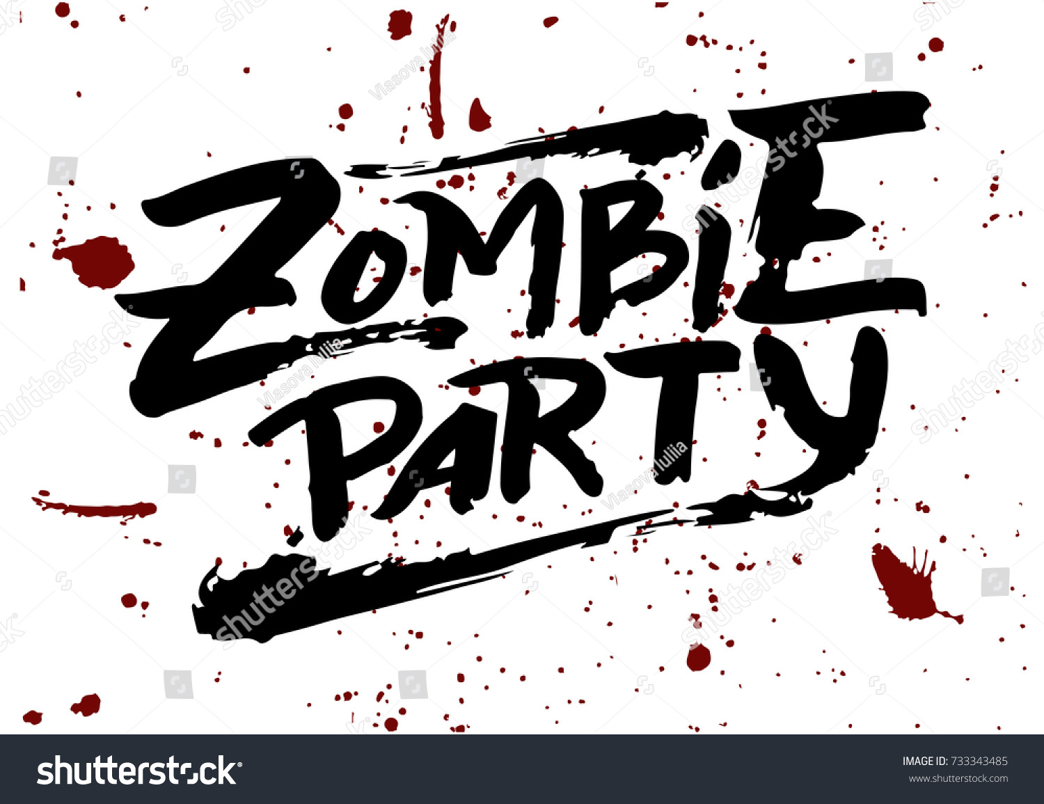 Raster Illustration Zombie Party Text Party Stock Illustration ...