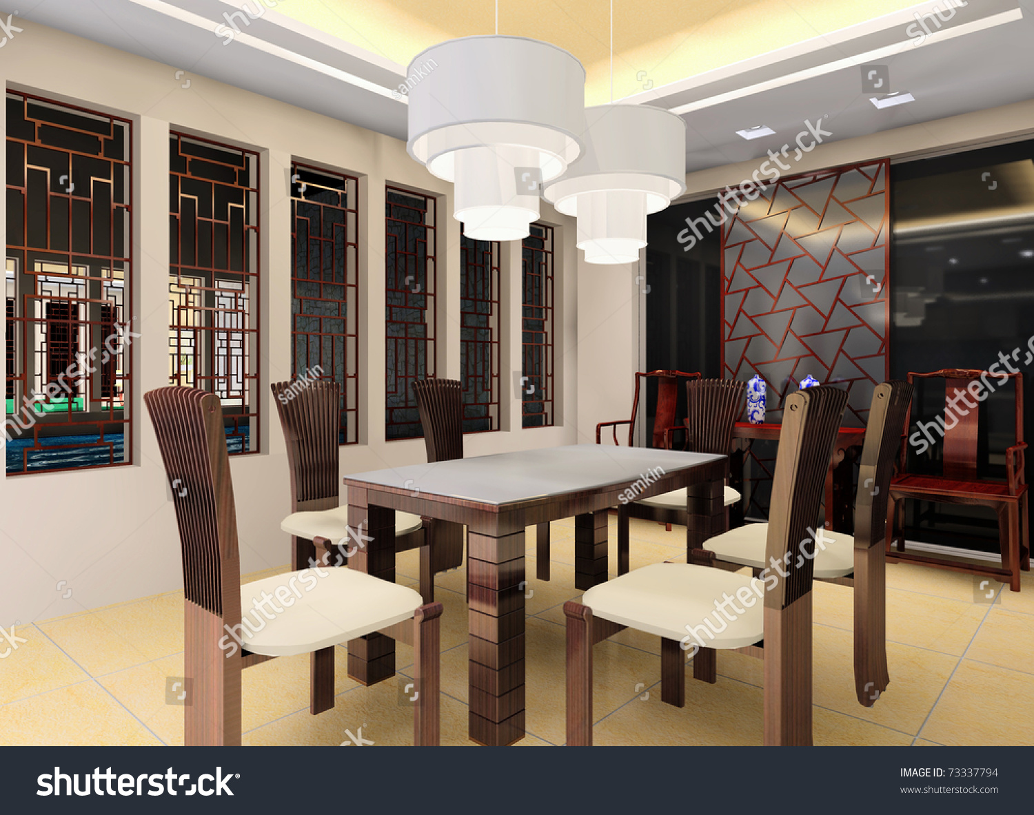 A china style dining hall interior stock photo 73337794 for Dining hall interior