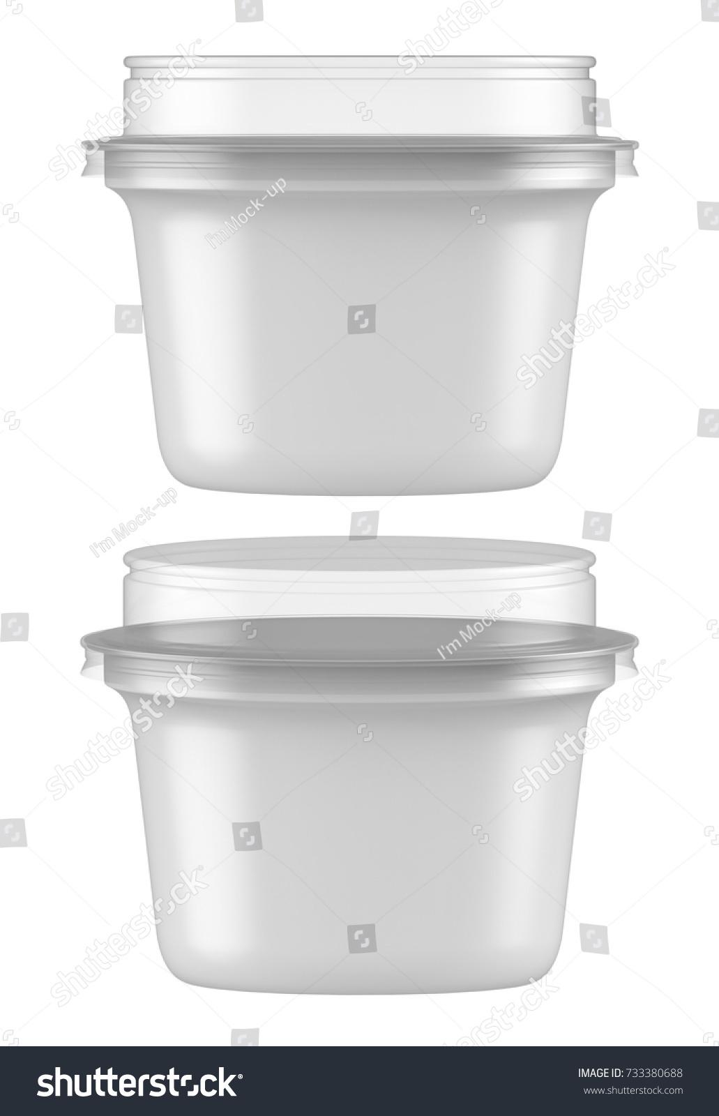 3 D Rendering Plastic Tub Clear Lid Stock Illustration 733380688 ...
