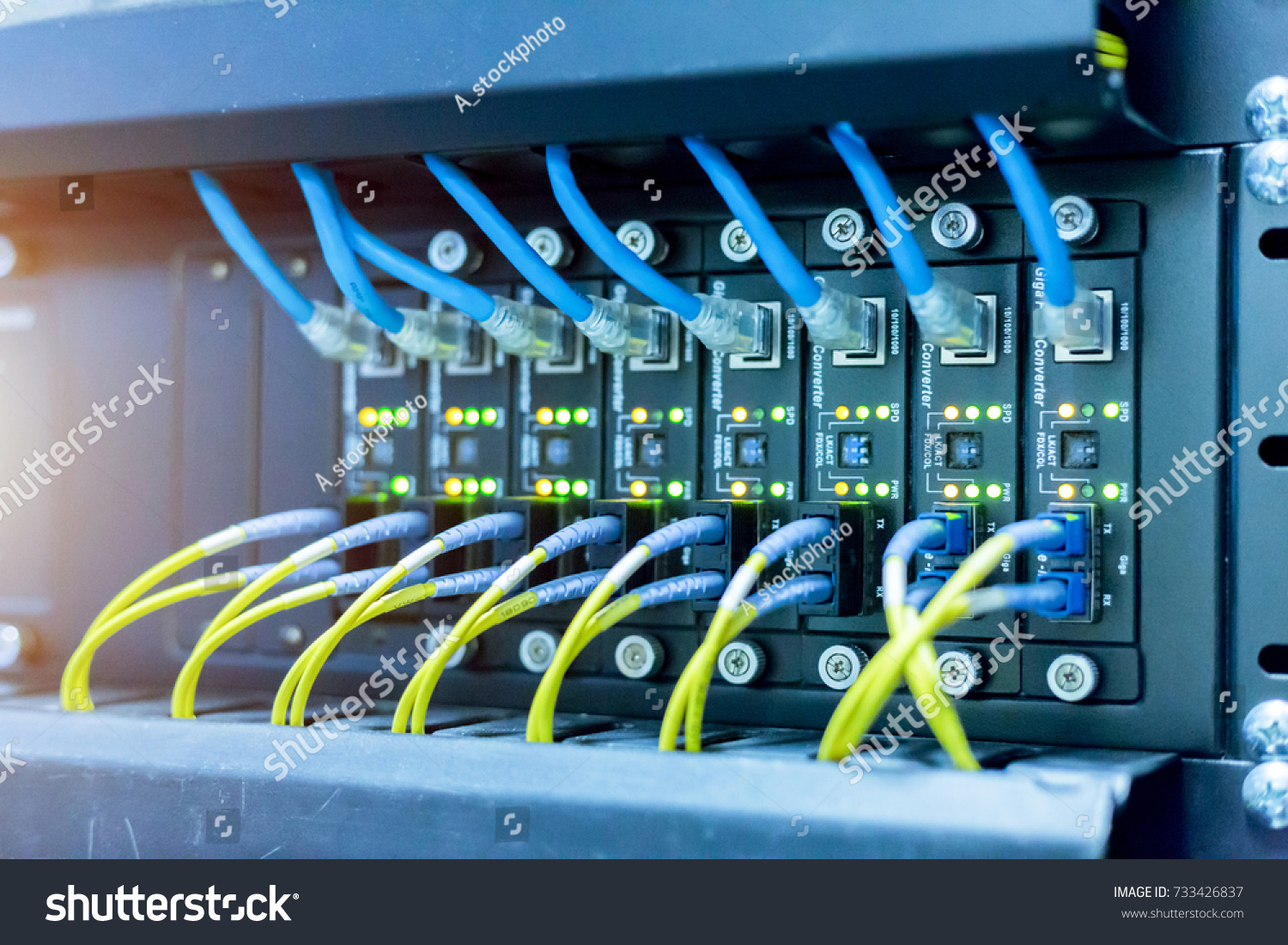 Network Switch Ethernet Cables Data Center Concept Stock Photo (Safe ...