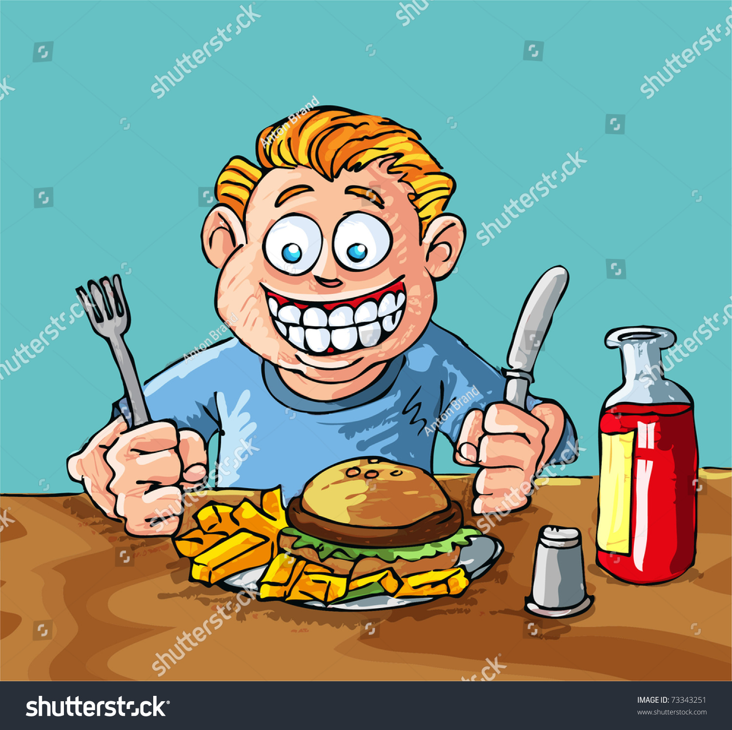 Cartoon Boy About Eat Hamburger French Stock Vector