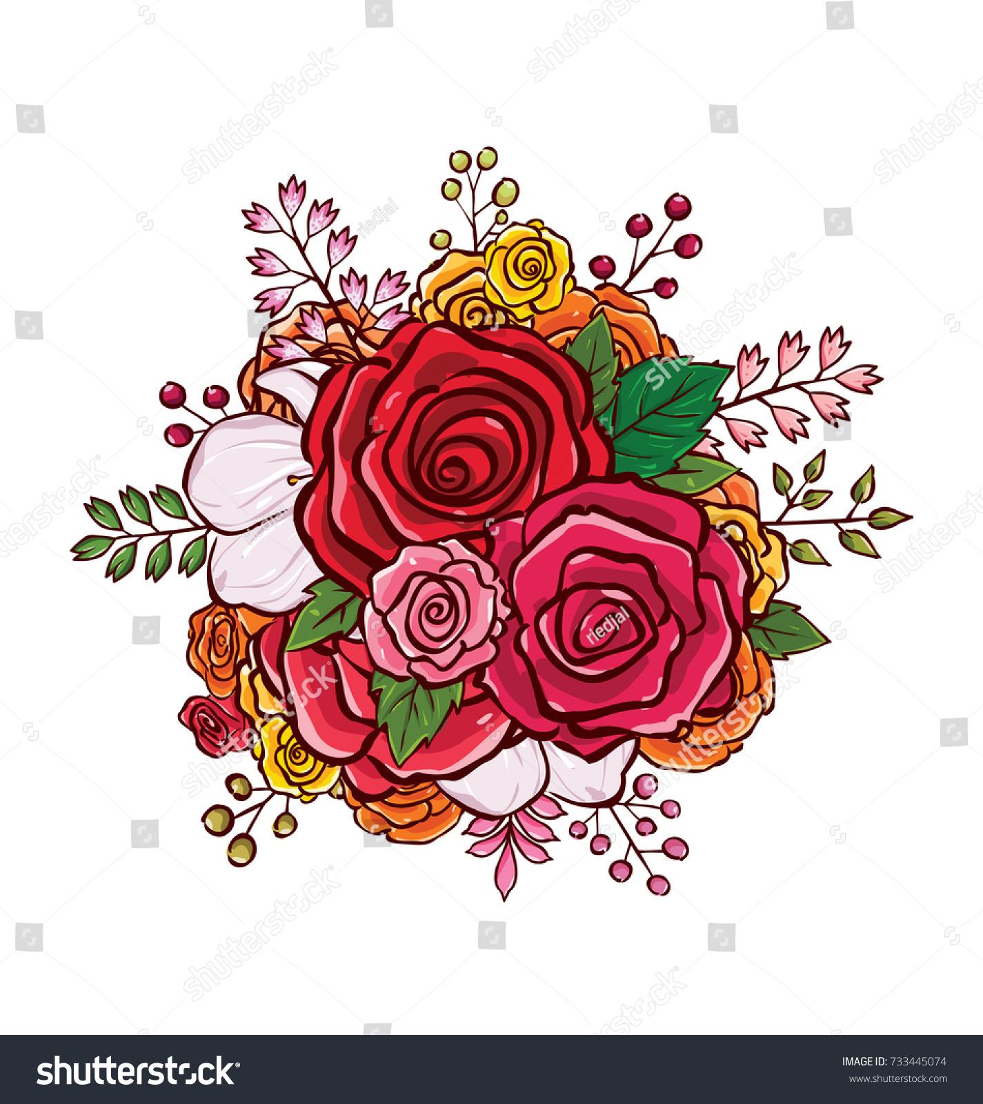 Flower Bouquet Vector Illustration Stock Vector 2018 733445074