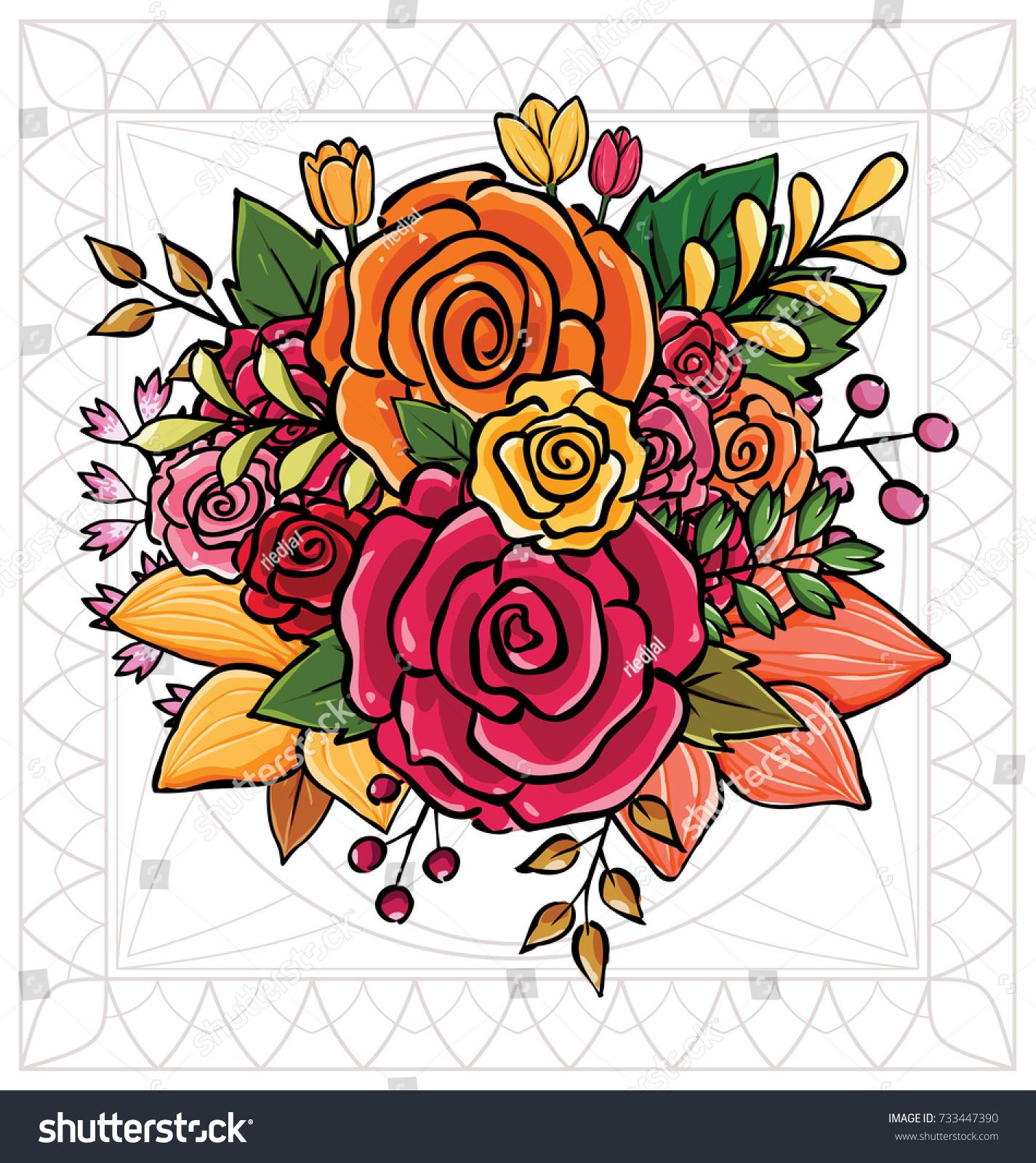 Flower Bouquet Vector Illustration Stock Vector 733447390 Shutterstock