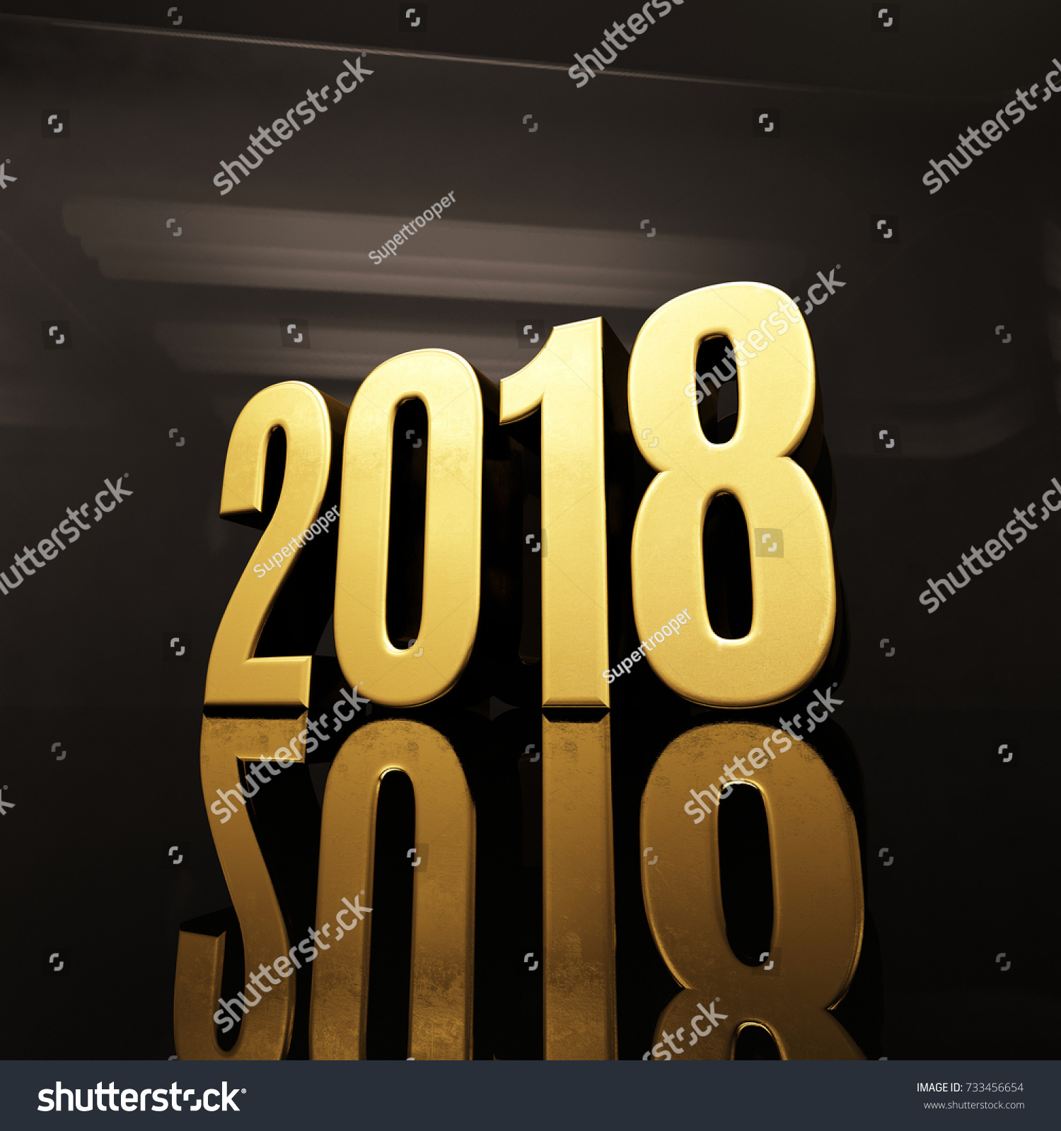 Gold Happy New Year 2018 Text Stock Illustration 733456654
