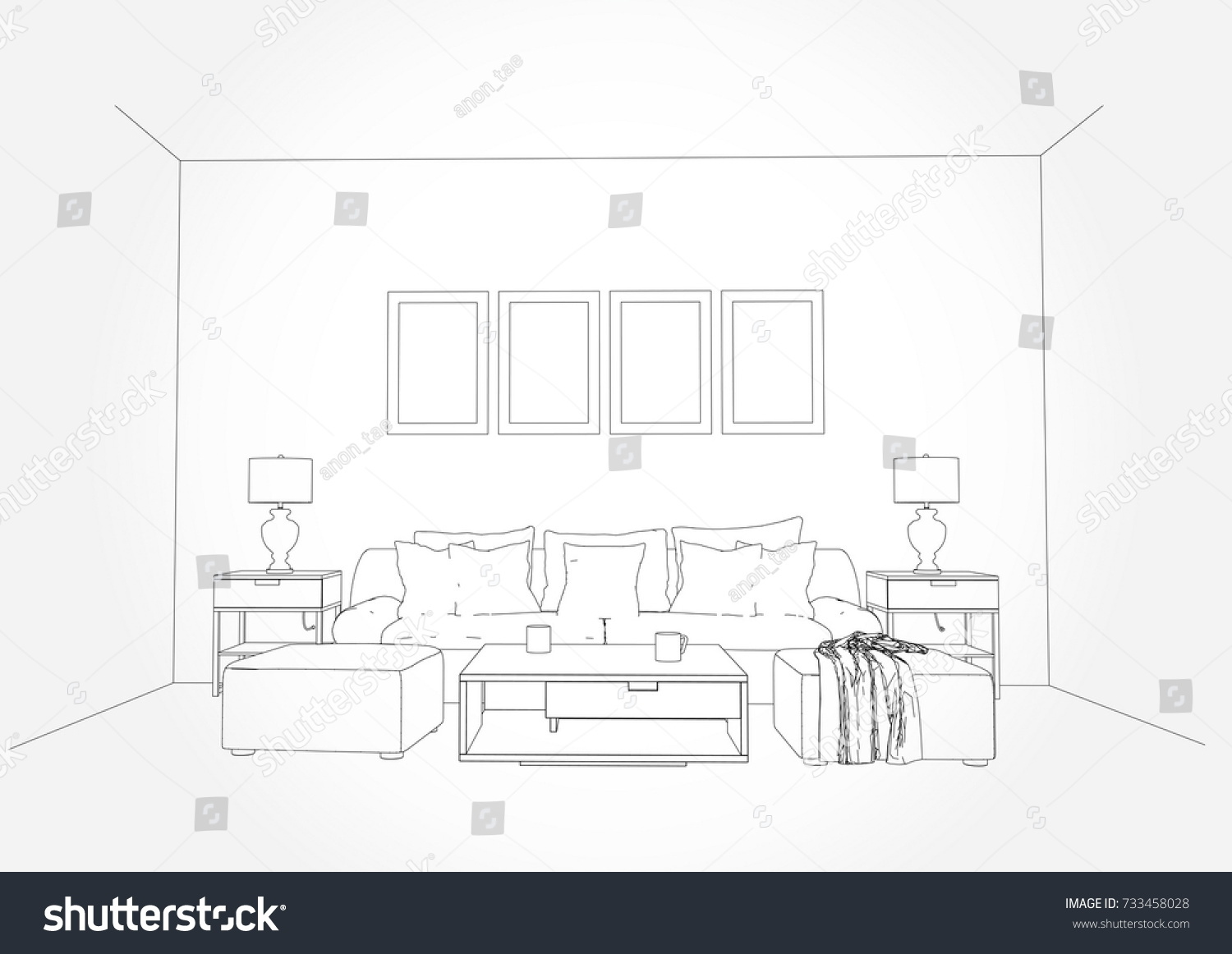Linear Sketch Interior Living Room Plan Stock Vector 733458028 ...