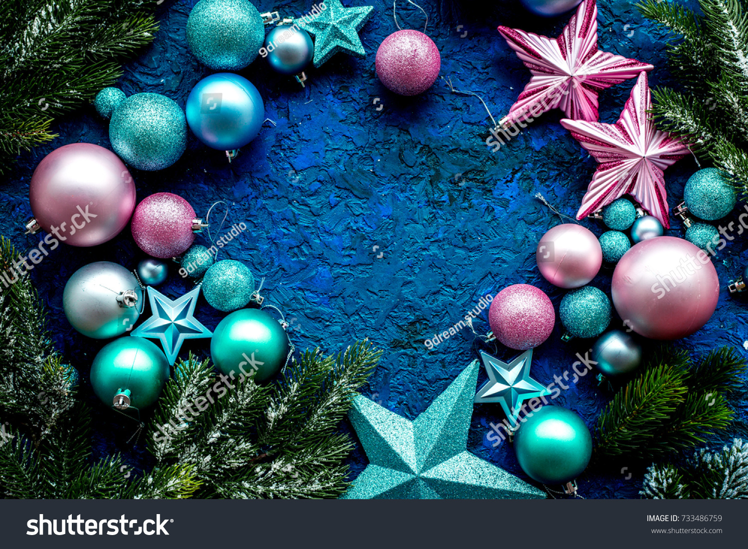 balls and stars frame mock up to decorate christmas tree on blue background top view ez canvas