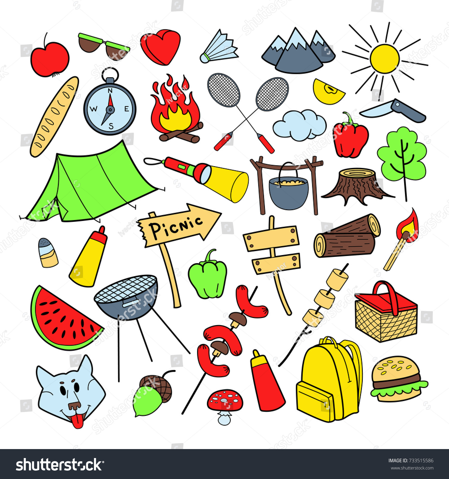 Picnic Hand Drawn Doodle Outdoor Activities Food Nature Camping Outlined Elements