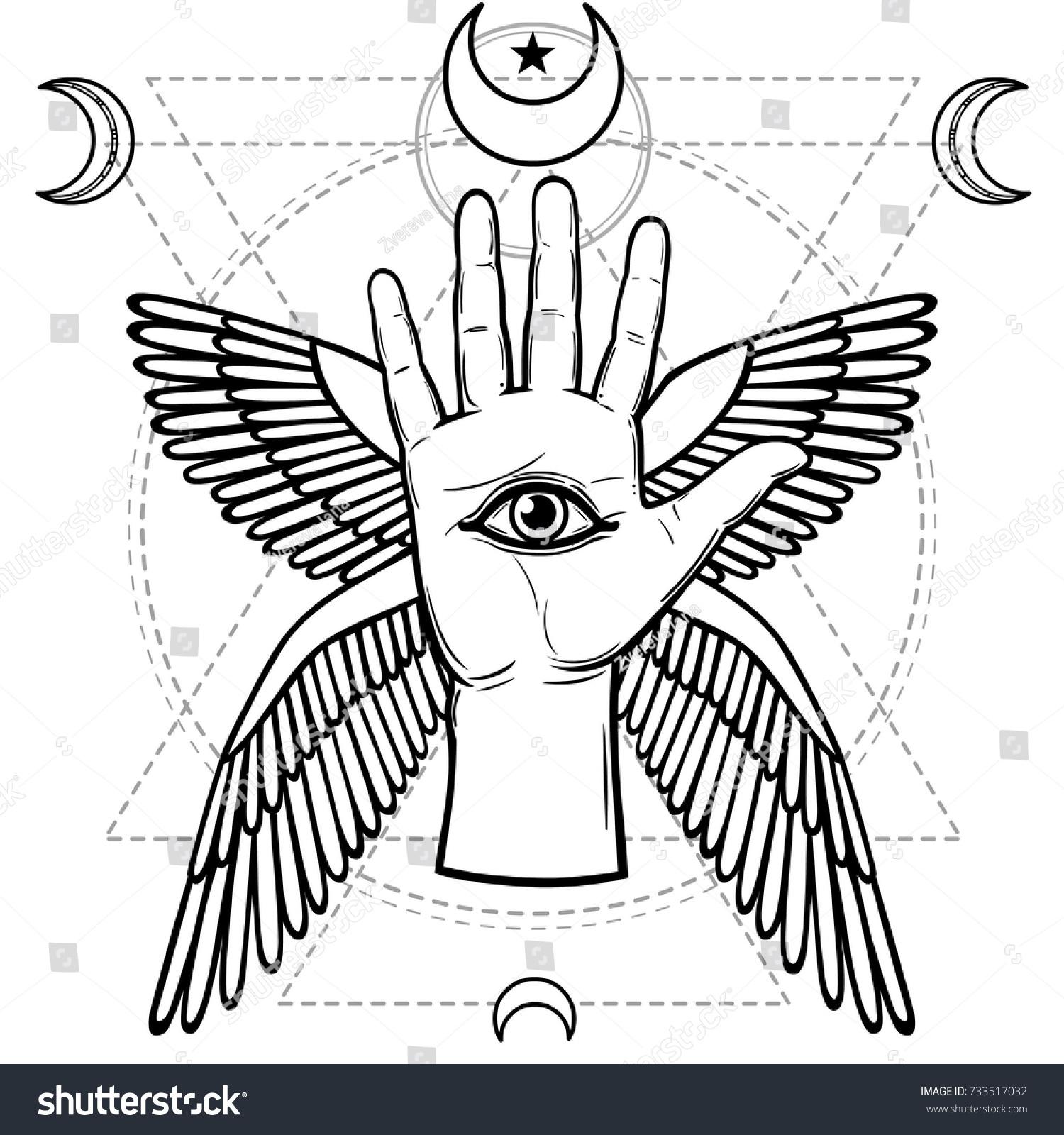 Mystical Symbol Human Hand Eye Providence Stock Vector Royalty Free