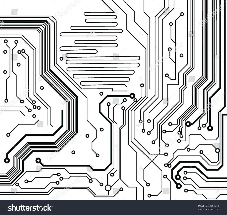 Circuit Board Pattern Blackandwhite Vector Illustration Stock Vector ...