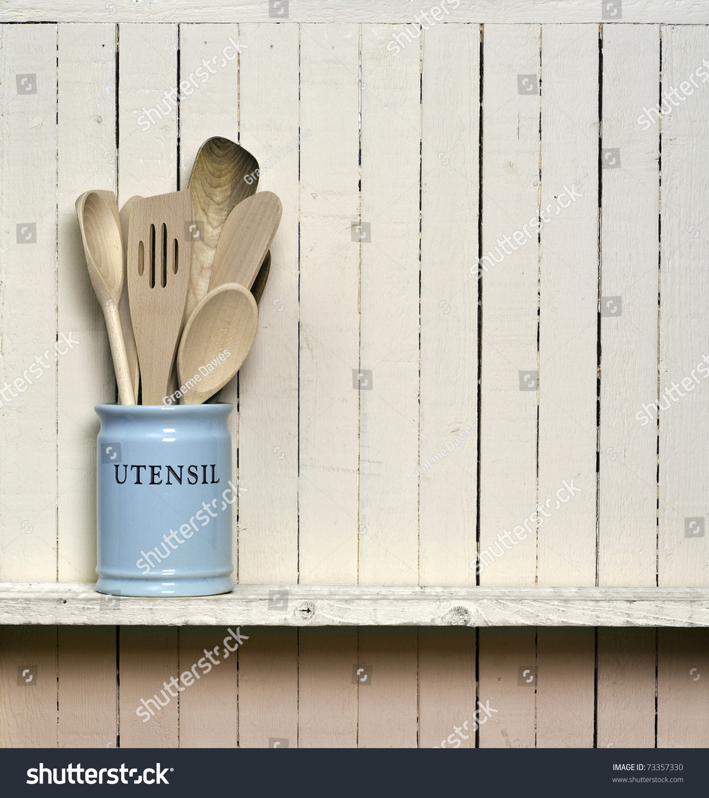 Kitchen Shelf Above Cooker: Kitchen Cooking Utensils Wooden Spatulas China Stock Photo
