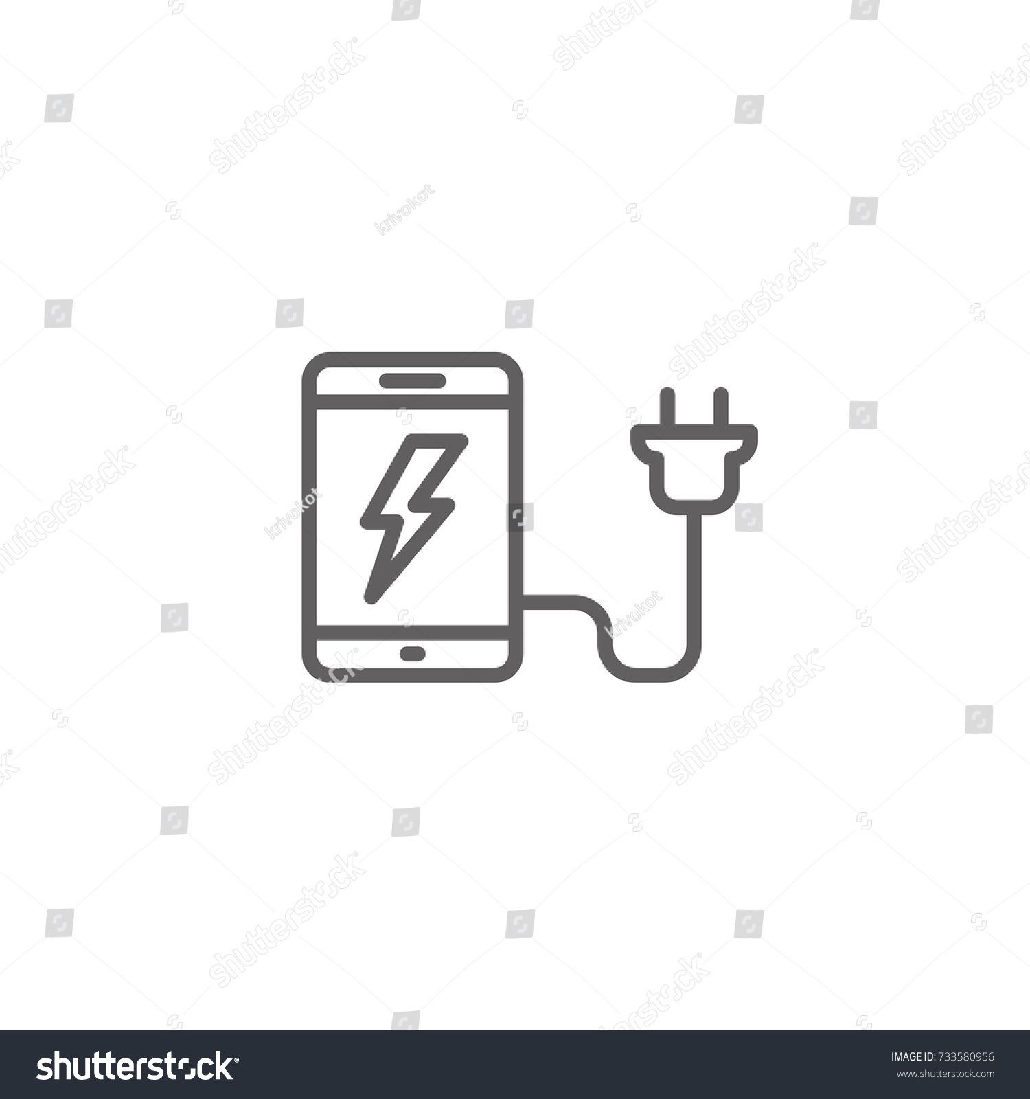 Mobile Telephone Charging Cell Phone Thin Stock Vector 733580956 ...