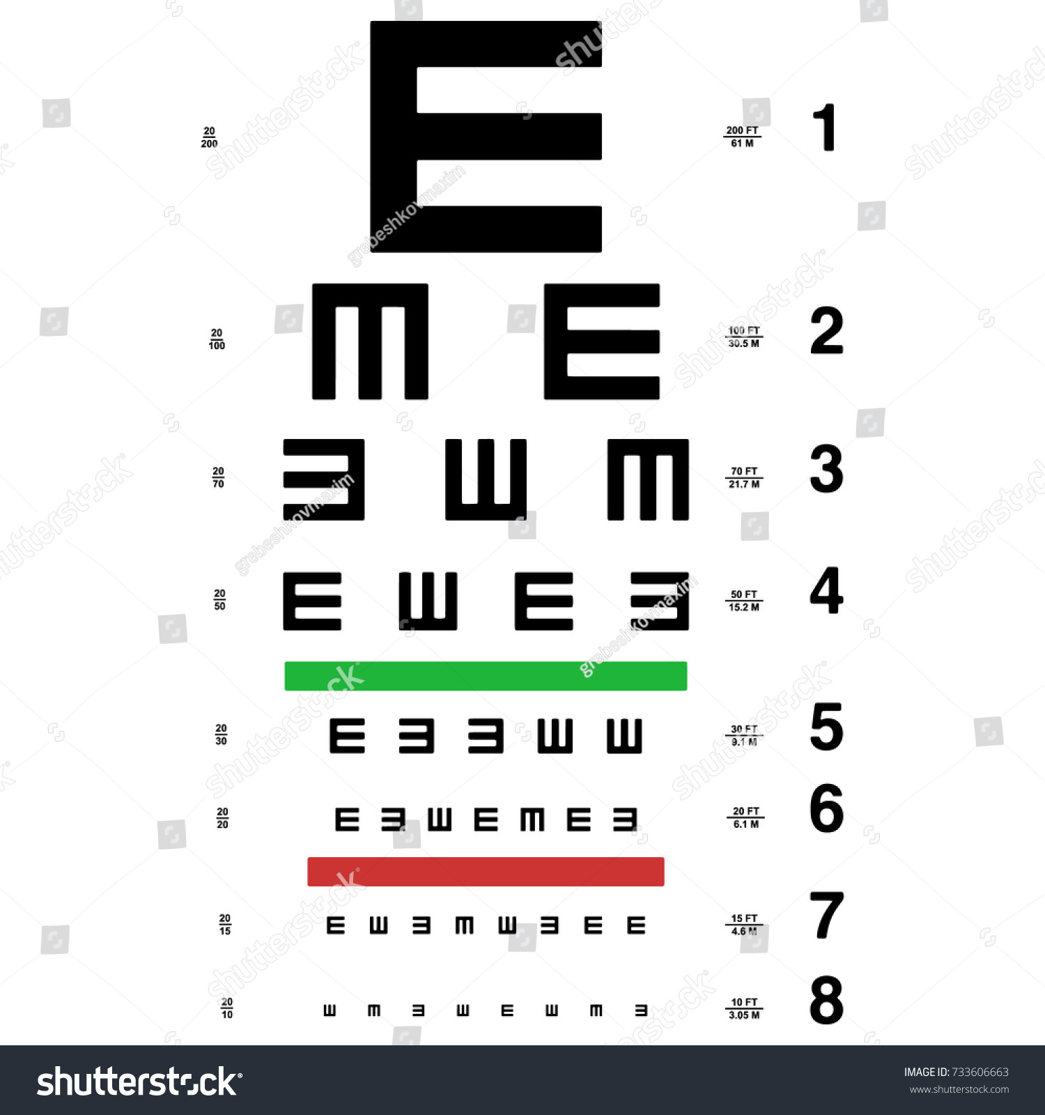 Vector eye test chart visual acuity stock vector 733606663 vector eye test chart visual acuity e chart nvjuhfo Images