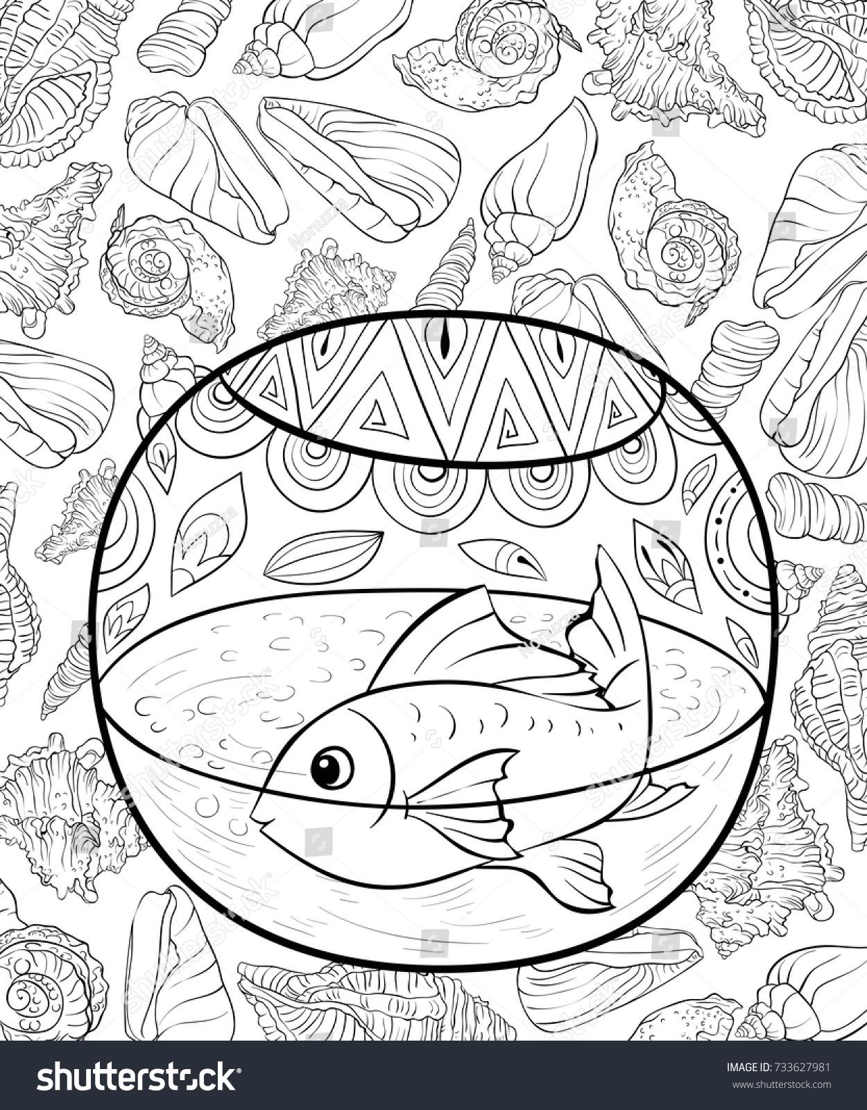 Adult Coloring Pagebook Fish Aquarium Background Stock Vector ...