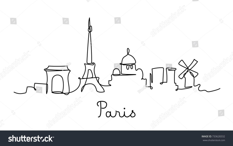One Line Style Paris City Skyline Stock Vector 733628332