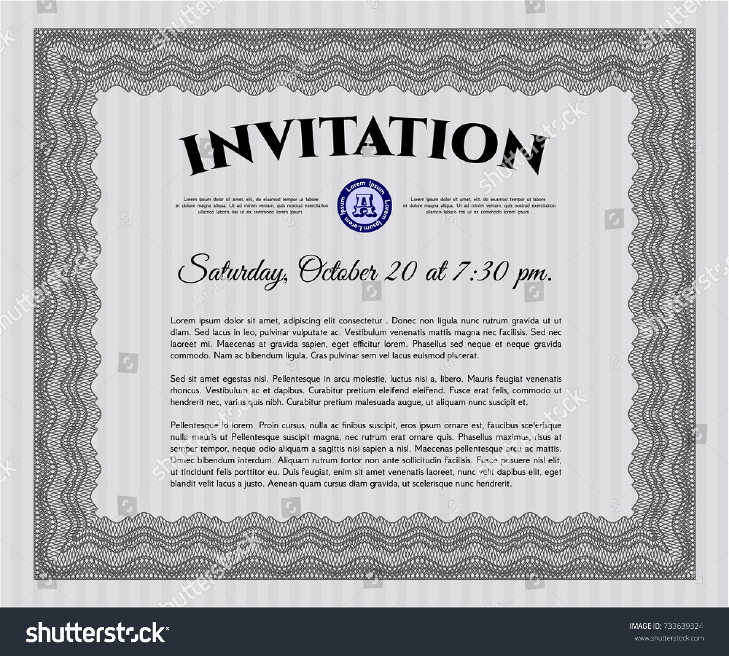 Grey Formal Invitation Template Linear Background Stock Vector