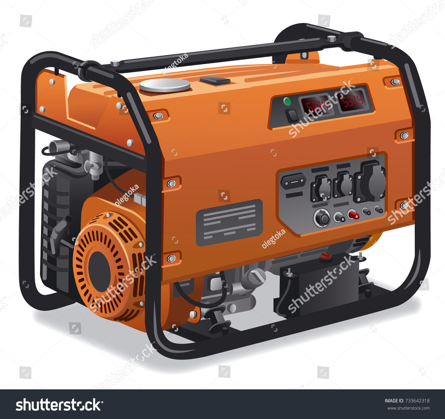 Illustration Industrial Home Immovable Power Generator Stock